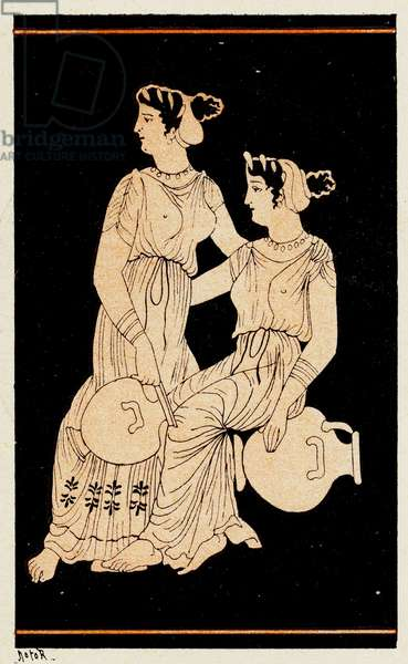 Two women holding Amphorae, Illustration from Notor's Lysistrata,  1898 (litho)