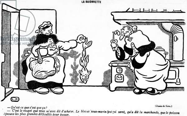 Cartoon depicting the disastrous effect of the submarine blockade on a fish bought in a French market, from the 'April Fool's Day ('Poisson d'Avril') edition of 'La Baionette' magazine, 29 March 1917 (litho)
