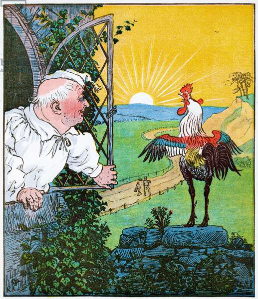 """""""This is the rooster that crowed in the morn, that woke the judge all shaven and shorn"""", illustration from The House that Jack Built, 1896 (litho)"""