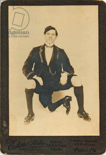 "Portrait of Francisco Lentini (1881 -1966), ""The three legged man"" (b/w photo)"