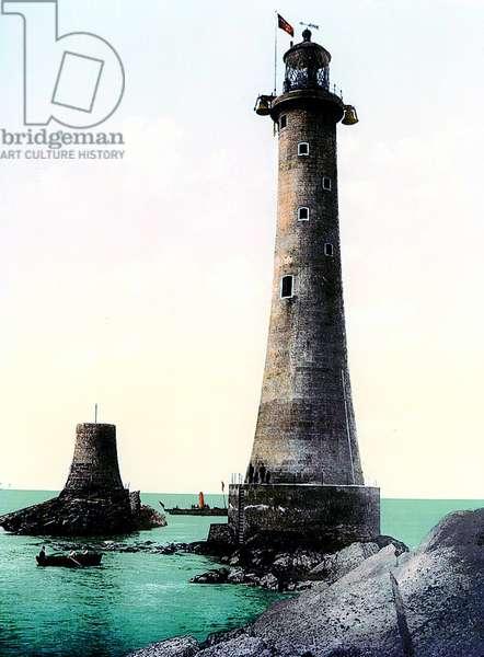 Eddystone Lighthouse, c.1900 (coloured photo)