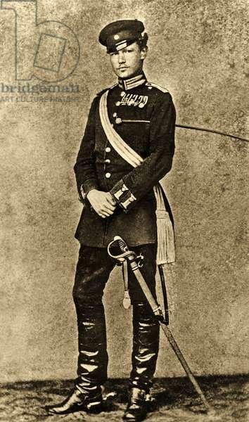 Portrait of Paul von Hindenburg as a young Man (b/w photo)