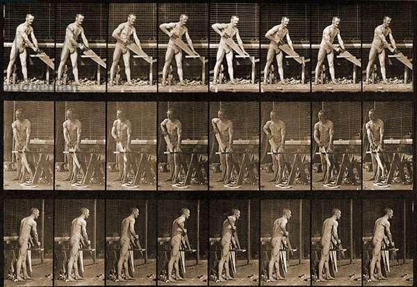 Man with saw from 'Animal Locomotion' series, c.1881 (b/w photo)
