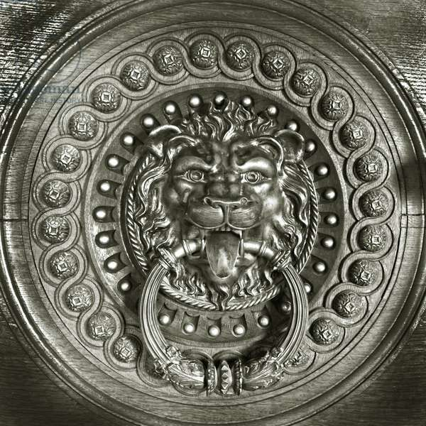 Lion head door knocker, Sintra, Portugal c.1905 (bronze)