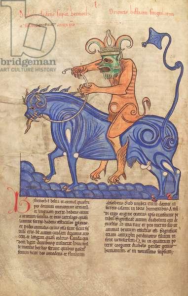 Cod. Guelf. 1 Gud. lat.  41V, Satan riding a Behemoth, from 'Liber Floridus' by Lambert de Saint-Omer c.1120 (vellum)