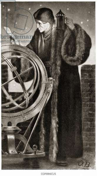 Nicolaus Copernicus with his model of the Universe, 1911 (litho)