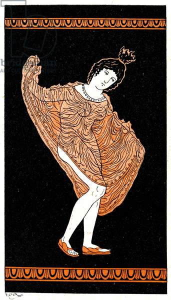 Woman dancing in a tunic,Illustration from Notor's Lysistrata,  1898 (litho)