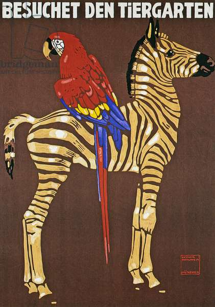 Poster advertising Hellabrunn Zoo in Munich, 1912 (colour Litho)