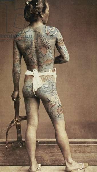 Man with traditional Japanese Irezumi tattoo, c.1880 (hand coloured albumen photo)