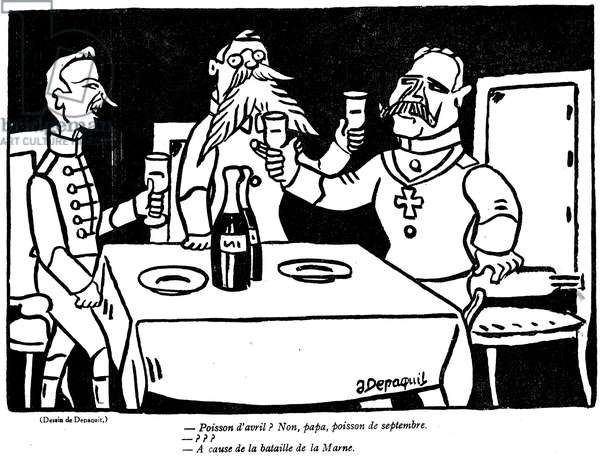 Cartoon depicting a German soldier and his father with a satirical allusion to the German disaster of the Marne, from the 'April Fool's Day ('Poisson d'Avril') edition of 'La Baionette' magazine, 29 March 1917 (litho)