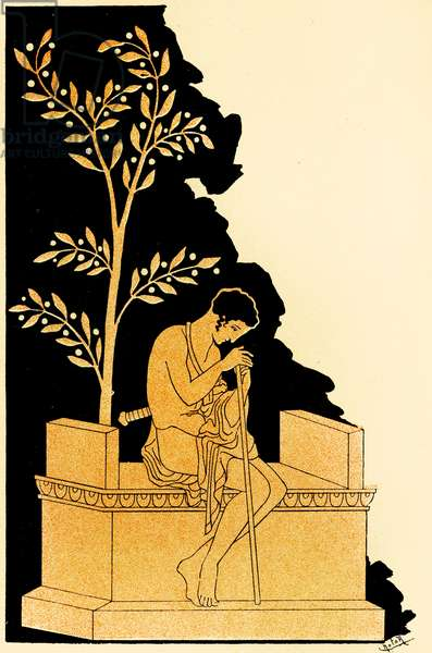 Periclidas sitting at the foot of an altar after the Lacedaemonians sent him to Athens to ask for help , Illustration from Notor's Lysistrata,  1898 (litho)