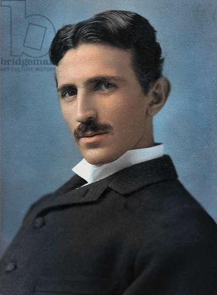 Portrait of Nikola Tesla, 1890 (hand tinted photo)