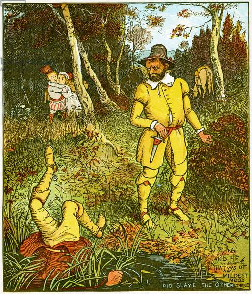 """""""And he that was of mildest mood, did slaye the other there"""", illustration from Babes in the wood,  1885 (litho)"""