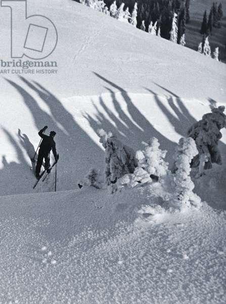 The Skier, 1928 (cyanotype)