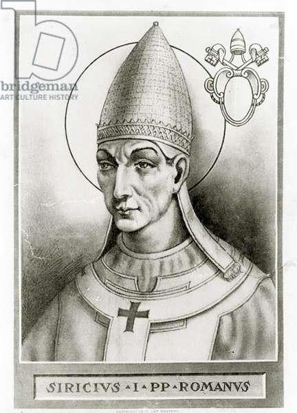 Portrait of Pope Siricius, c.1835 (litho)