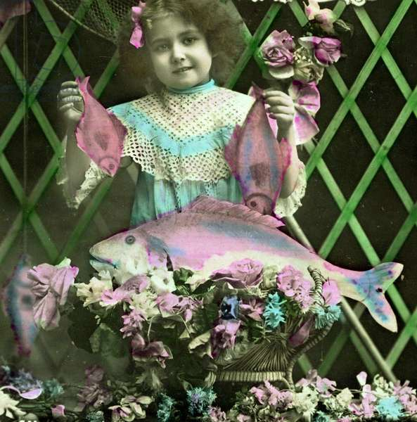 Portrait of a girl holding  fish  c.1898 (hand-tinted photo)