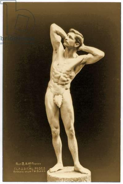 Full-length nude portrait of Bernarr Macfadden, c.1893 (b/w photo)