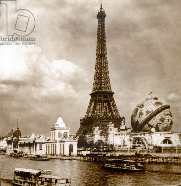 View of the Exposition Universelle, Eiffel Tower and Grand Globe Céleste from the Seine