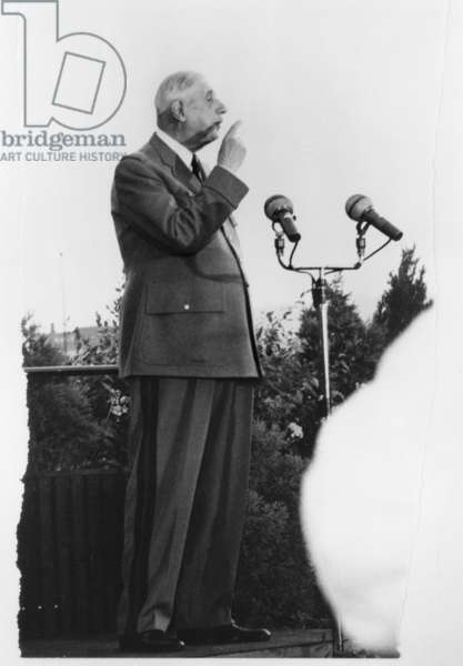 General Charles de Gaulle (1890-1970) making a speech on the terrace of the Montreal city hall during his official visit to Canada, July 1967 (b/w photo)