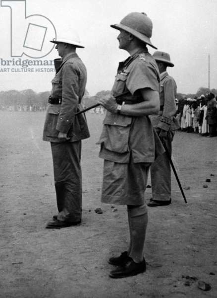 General de Gaulle, General Spears and Colonel Leclerc in Chad, 1940-41 (b/w photo)
