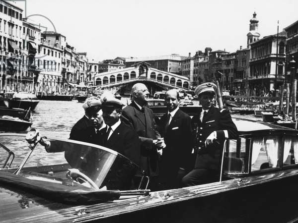 General Charles de Gaulle (1890-1970) and his aide de camp Lieutenant Colonel Lurin in a launch on the Grand Canal, Venice, 1st June 1967 (b/w photo)