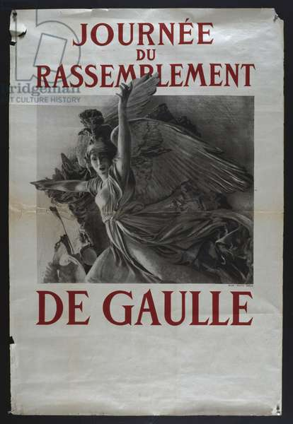 Poster advertising a meeting of the RPF, the political party of General Charles de Gaulle (1890-1970) 1949 (colour litho)
