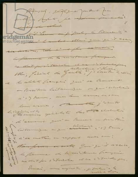 Original manuscript of the 18th June 1940 address of General de Gaulle, 2nd page verso, 1940 (ink on paper)