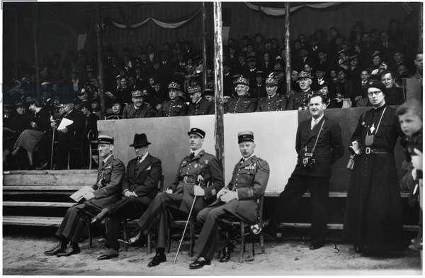 Lieutenant Colonel Charles de Gaulle (1890-1970) and General Henri Giraud (1879-194) sitting at the official stand of the celebration of the 507th R.C.C. in Montigny-les Metz, 1937 (b/w photo)