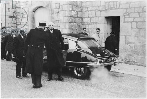 General Charles de Gaulle (1890-1970) entering the church of Colombey-les-Deux-Eglises, 8th November 1970 (b/w photo)