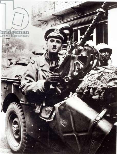 Lieutenant Philippe de Gaulle in a jeep (b.1921), Normandy, August 1944 (b/w photo)