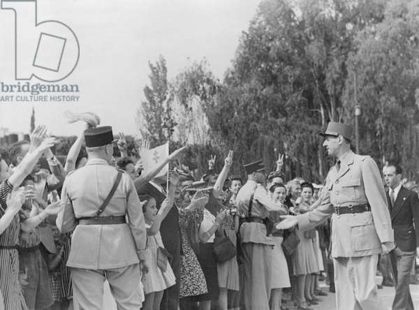 General Charles de Gaulle parading at Rabat during his official visit to Morocco, 6th-7th August 1943 (b/w photo)