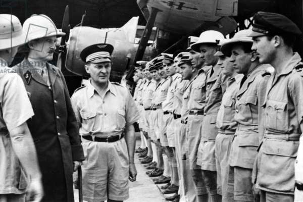 Free France in Equatorial Africa, General Leclerc and Commandant Kopp in Pointe-Noire, Congo, 1940 (b/w photo)
