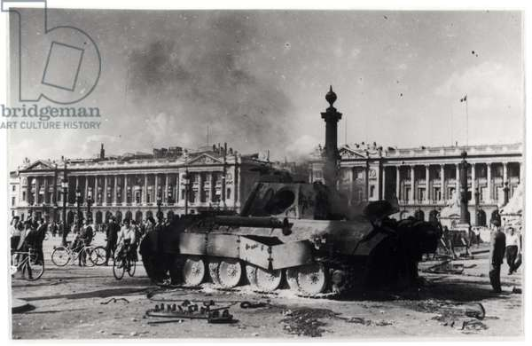 The Liberation of Paris. A German Tank Out of Action in Front of the Gates of the Tuileries, 24th August 1944 (b/w photo)