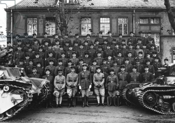 Colonel Charles de Gaulle (1890-1970) and the non-commissioned officers of the 507th Tank Regiment at Metz, 1937 (b/w photo)