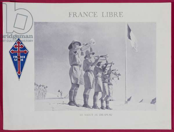 Free France in North Africa, buglers of the Free French Forces saluting, Libya, 1941 (colour photolitho)