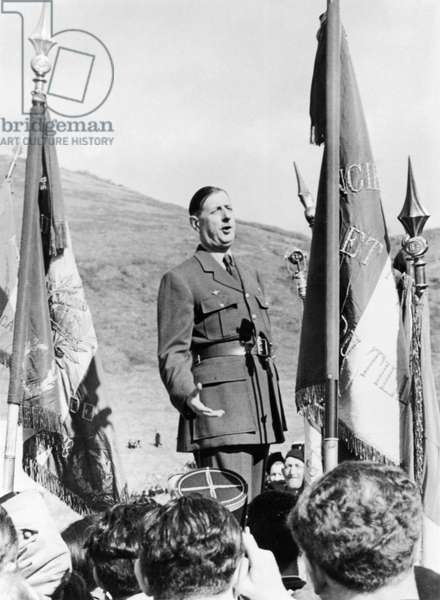 General Charles de Gaulle (1890-1970) making a speech for the war veterans probably at Bruneval, 30th March 1947 (b/w photo)