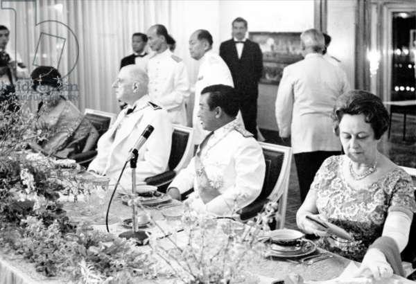 General de Gaulle and Prince Norodom Sihanouk at a Gala Dinner at the Palais Royal, 1 September 1966 (b/w photo)