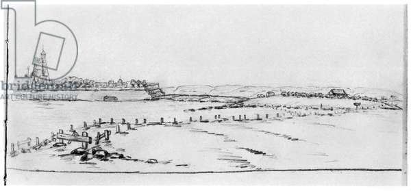 Sketch of a landscape with a fortified town, done at Saint-Cyr, 1912 (pencil on paper) (b/w photo)