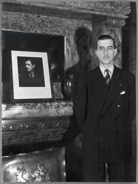 Pierre de Gaulle (1897-1959) in his office as President of Paris town council, 1947-51 (b/w photo)