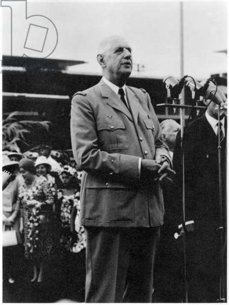 General Charles de Gaulle (1890-1970) arriving at Faaa and making a speech at the airport during his official visit to Polynesia, 2nd September 1966 (b/w photo)