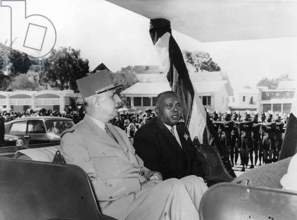 Journey to Madagascar, General Charles de Gaulle (1890-1970) and Philibert Tsiranana (1910-78) August 1958 (b/w photo)