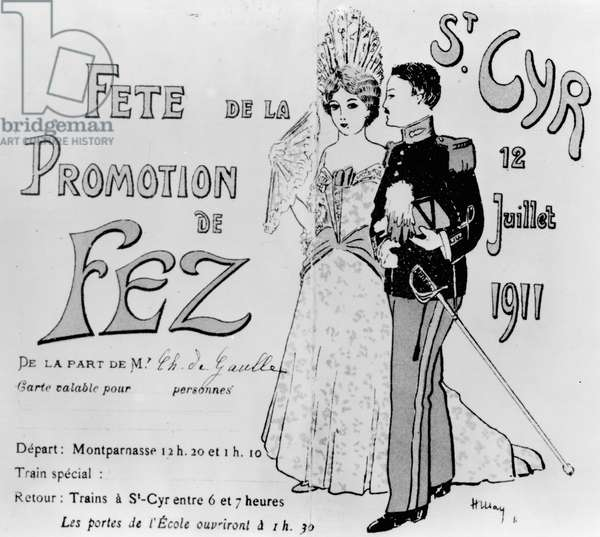 Charles de Gaulle's (1890-1970) Invitation to the Saint-Cyr Ball, 12th July 1911 (litho) (b/w photo)