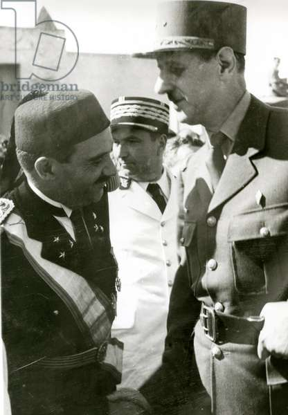 Liberation of Tunisia, Charles de Gaulle (1890-1970) greeting the Bey of Tunis, May 1943 (b/w photo)