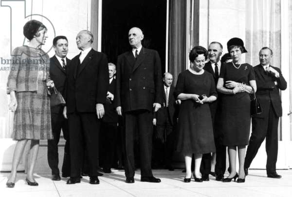 Left to Right: Madame Claude Pompidou, Chancellor Adenauer, General de Gaulle, Madame Yvonne de Gaulle and Georges Pompidou at the Elysée Palace, Paris, 10 November 1964 (b/w photo)