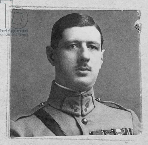 Captain Charles de Gaulle (1890-1970) at the Higher School of War, 1922 (b/w photo)