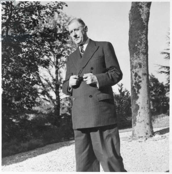 General Charles de Gaulle (1890-1970) at La Boisserie, 2nd October 1954 (b/w photo)