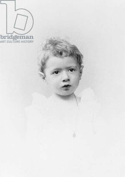 Charles de Gaulle (1890-1970) aged 21 months, 1892 (b/w photo)