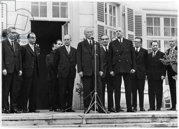 General Charles de Gaulle (1890-1970) and Chancellor Konrad Adenauer (1876-1967) during his official visit to the Federal German Republic, 4th-9th September 1962 (b/w photo)