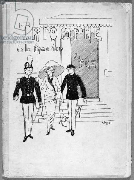 Cover illustration of the programme 'Triomphe de la promotion de Fez' belonging to Charles de Gaulle (1890-1970) at Saint-Cyr, 1910 (litho) (b/w photo)