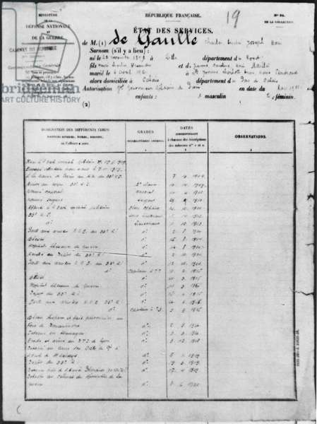 Service record of Charles de Gaulle (1890-1970) March 1921 (pen & ink on paper) (b/w photo)